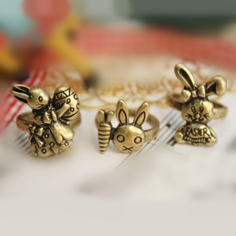 Vintage Cute Rabbit With Carrot Ring Beautiful animal Finger Rings For Women men Children Jewellery birthday gift Free Shipping