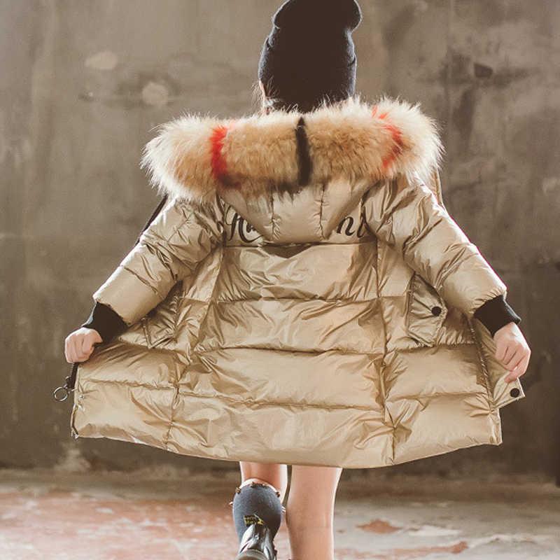 HH rosyjski maluch dziewczyna zima srebrny parka prawdziwe futro z kapturem płaszcz dzieci kombinezony zimowe nastolatek długa kurtka puchowa 4 6 12 lat