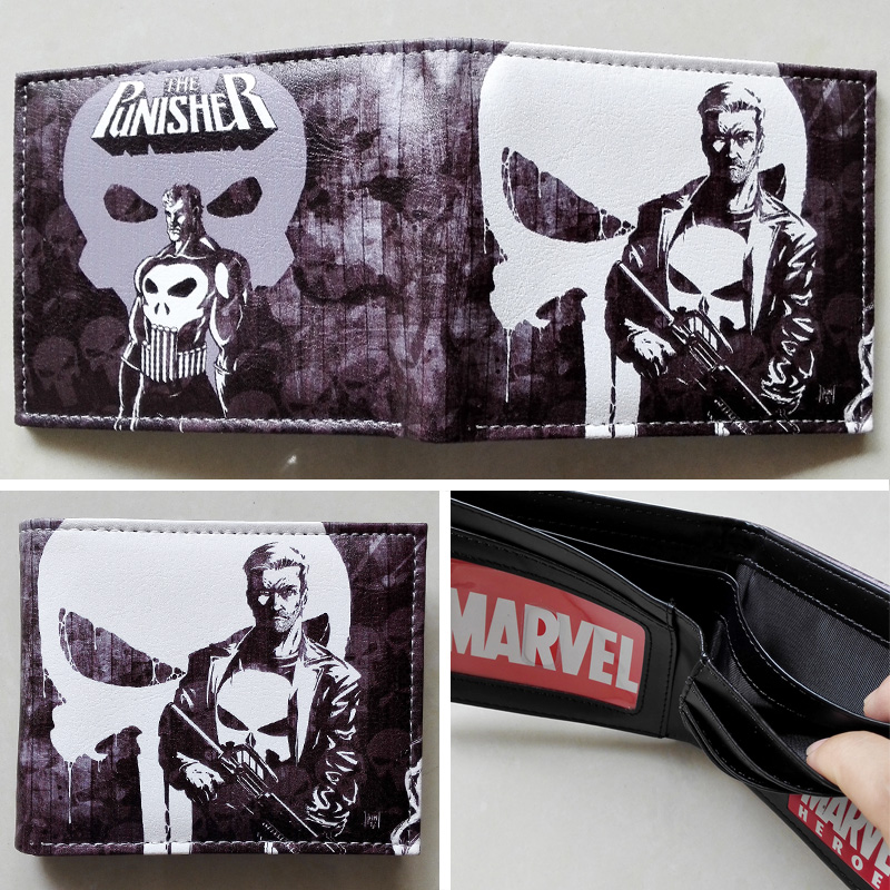 2018 Marvel The Punisher Skull Character Logo 03 wallets Purse Gray Leather W233 2018 movie the terminator t850 skull logo wallets purse multi color 12 cm leather w211