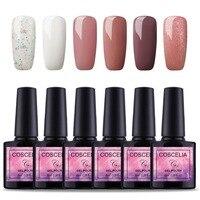 COSCELIA 6 шт лак для ногтей Лаки UV гель для ногтей Цвет полу постоянный гель маникюр Грунтовка Top Coat блеск ногтей