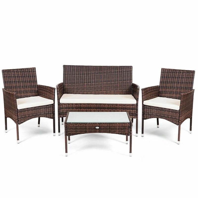 Rattan Patio Furniture Set Glass Top Table Cushioned Seat Outdoor Furniture 1 Loveseat 2 Single Sofa 1 Coffee Table HW60402