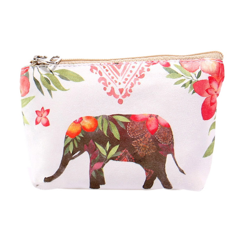 Animal Print Purse For Coins Girls Sweet Money Bag Change Pouch Coin Key Holder Canvas Wallet Zipper Small Bags