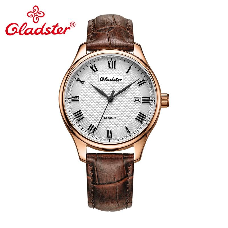 Gladster Sapphire Crystal Luxury Japan MIYOTA Fashion Leather Men Wristwatch Gift
