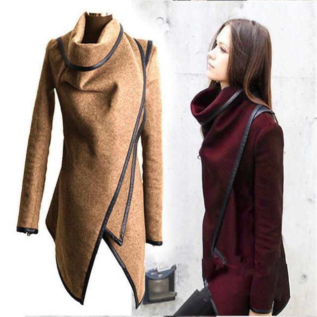 Casaco Feminino 2015 New Fashion Women Asymmetric Trench Women Winter Woolen Overcoat Woolen   Coat 6 Colors