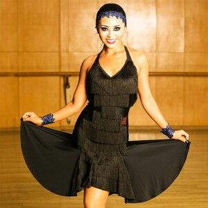 Image 4 - สีดำชุดเต้นรำละตินผู้หญิงคุณภาพสูง Fringe Salsa Samba Rumba เต้นรำสวมใส่แขนกุด Ballroom Dancer เสื้อผ้า DC1049