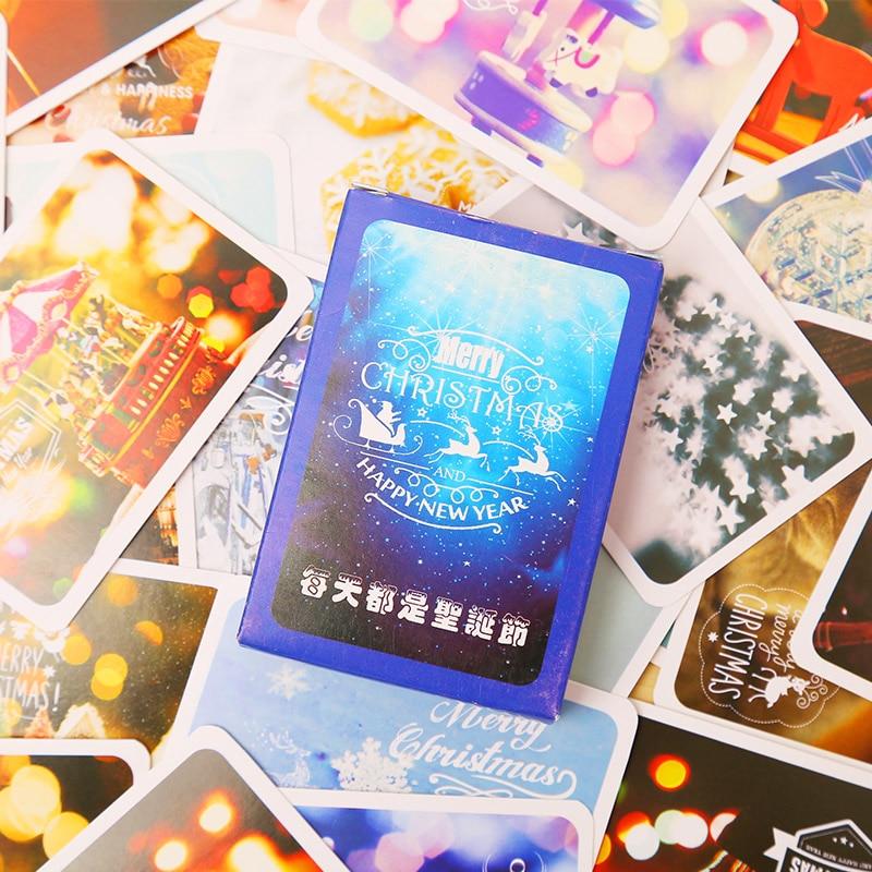 28 Pcs/set Mini Merry Christmas Card Greeting Card Lomo Memo Card Kids Gift Postcard Kawaii Stationery