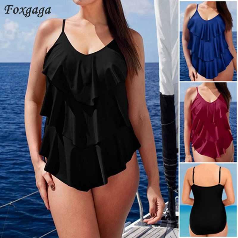 4786c49f32 2017 plus size swimwear ruffles one piece swimsuit three lotus leaf layers  beachwear big size bathing