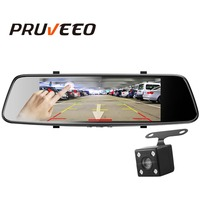 Pruveeo Car Dvr D700 7 Inch Touch Screen Backup Cameras Dash Cam Front and Rear Dual Channel with Rear View Reversing Camera