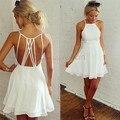 AQ29 Para Mujer Vestidos de Verano 2015 Summe Ropa Moda Mujer Marca Sexy Correa de Espagueti Backless Mini Vestido de Partido Blanco