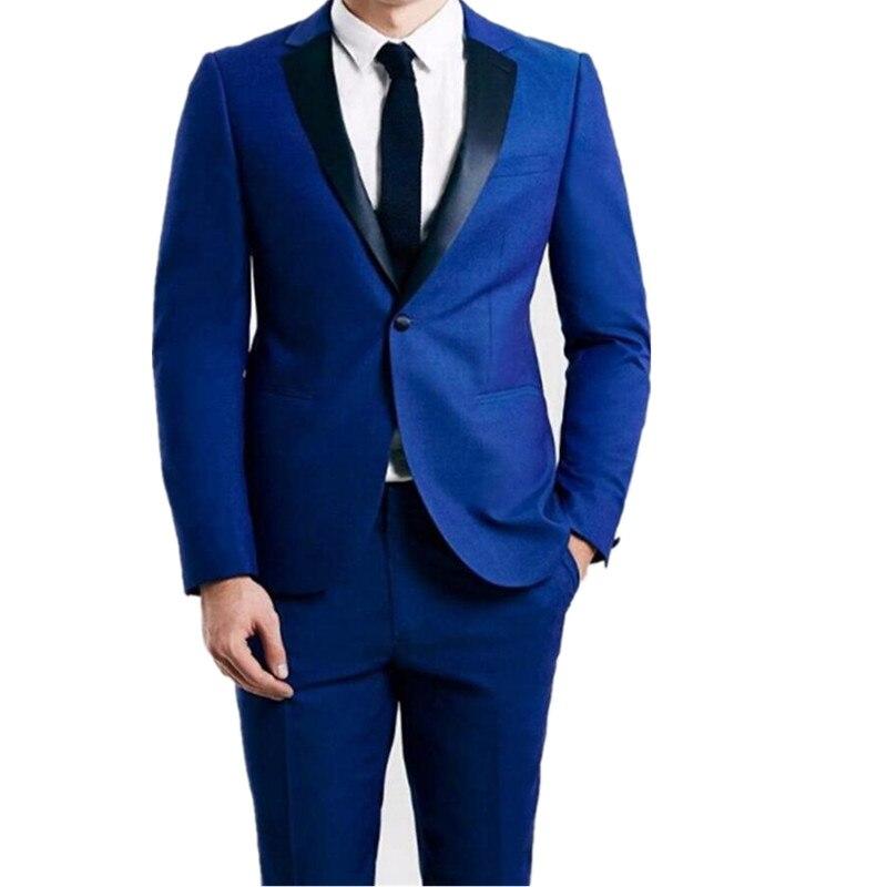 Custom Made Groomsmen Notch Black Lapel Groom Tuxedos Royal Blue ...