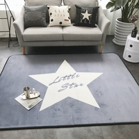 Grey Fleece Carpets For Living Room Home Decoration Star Door Mat Soft Crawling Carpet And Rugs