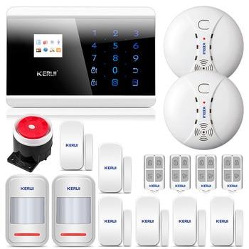 KERUI 8218G система охранной сигнализации для дома GSM PSTN высокопроизводительный процессор с магнитом на дверь датчик движения дыма детектор и си...