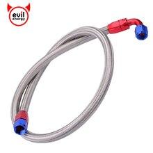 Evil energy tuyau pour durite dhuile en acier inoxydable, 1m, accessoire pour huile, accessoire pour embout pivotant de 0 à 90 degrés, AN10