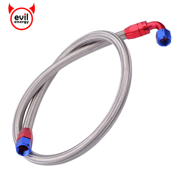 evil energy AN10 1Meter Stainless Steel Brained Oil Hose Line Hose Tube With 0Degree 90Degree Swivel Hose End Fitting Installed