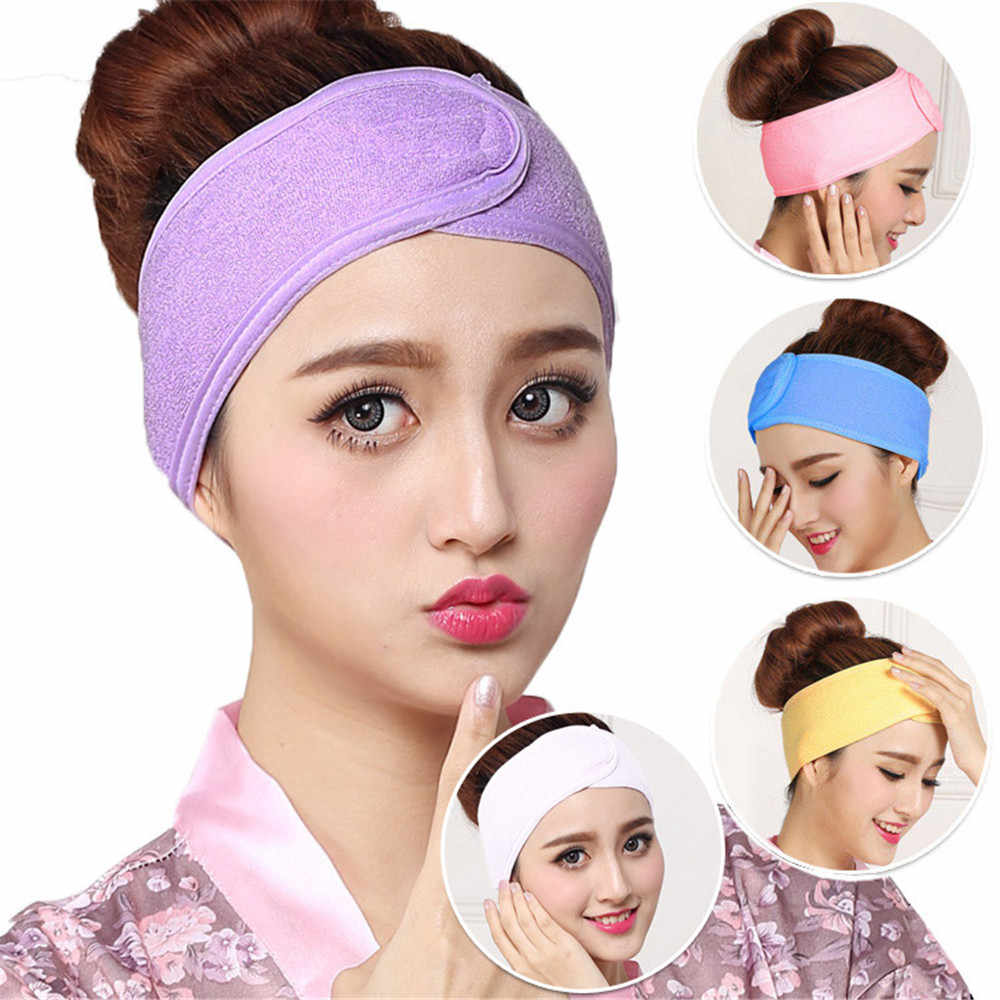 1PC Women Adjustable Makeup Toweling Hair Wrap Head Band Soft Adjustable Salon SPA Facial Headband Hairband