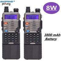 2Pcs Baofeng UV 5RE8W 8Watt Tri Power 1 4 8w W 3800mah Extended Battery Three Antennas