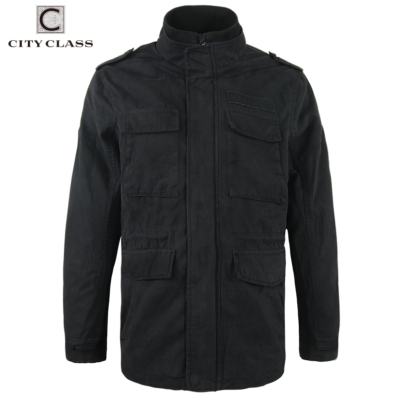 CITY CLASS 2017 Mens 100% Washed Cotton Windbreakers Casual Loose Stand Collar Multi-colors Badges Jackets and Coats 3799