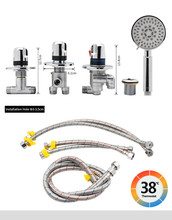 цена на Stainless Steel Triple Handles Waterfall Bathtub Faucet Kits Cold&Hot Water Mixer Tap two ways Hand Shower&Faucet Output