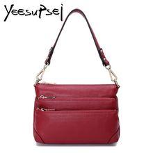 цена YeeSupSei Women Cow Leather Handbag 3 Fold Zipper Bag Totes Female Vintage Classic Shoulder Bag Women Banquet Shopping Handbag в интернет-магазинах