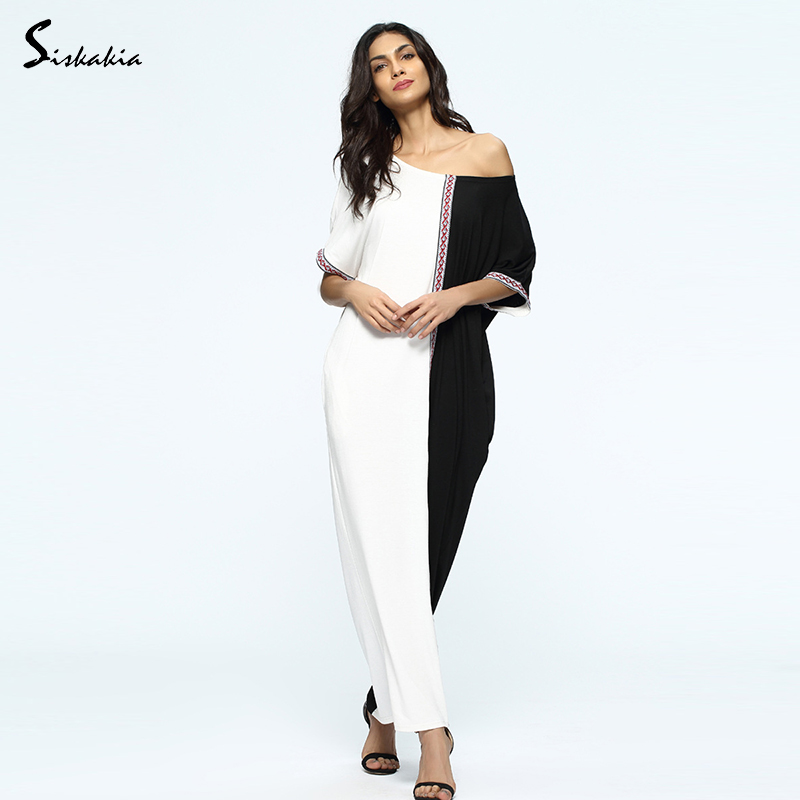 Siskakia Middle east Arabs gowns Summer 2017 womens long Dress Black White panelled patchwork Casual loose Robes long tunic New