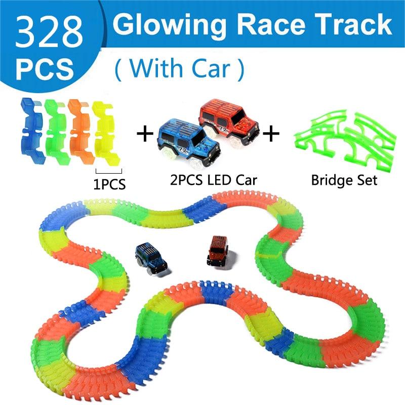 Железнодорожная волшебный светящийся гибкие трек автомобиль игрушки детей гонки изгиб рельсового пути привели Электронная вспышка света автомобиля DIY игрушки детям подарок - Цвет: 328pc 2 car 4 bridge