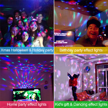 Sound Activated Disco Lights Rotating Ball Lights colorful LED Stage Light For kids Christmas Home KTV Xmas Wedding Show