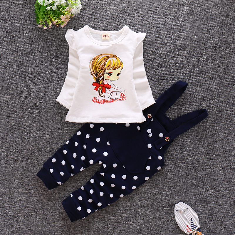 Baby Girls Clothing Sets with Strap Children clothing set Girl overall Tops T-shirt bib Pants Infant cotton Clothes Outfits Sets girls baby long sleeve tops t shirt bib cartoon minnie 2pcs outfits set 1 5y