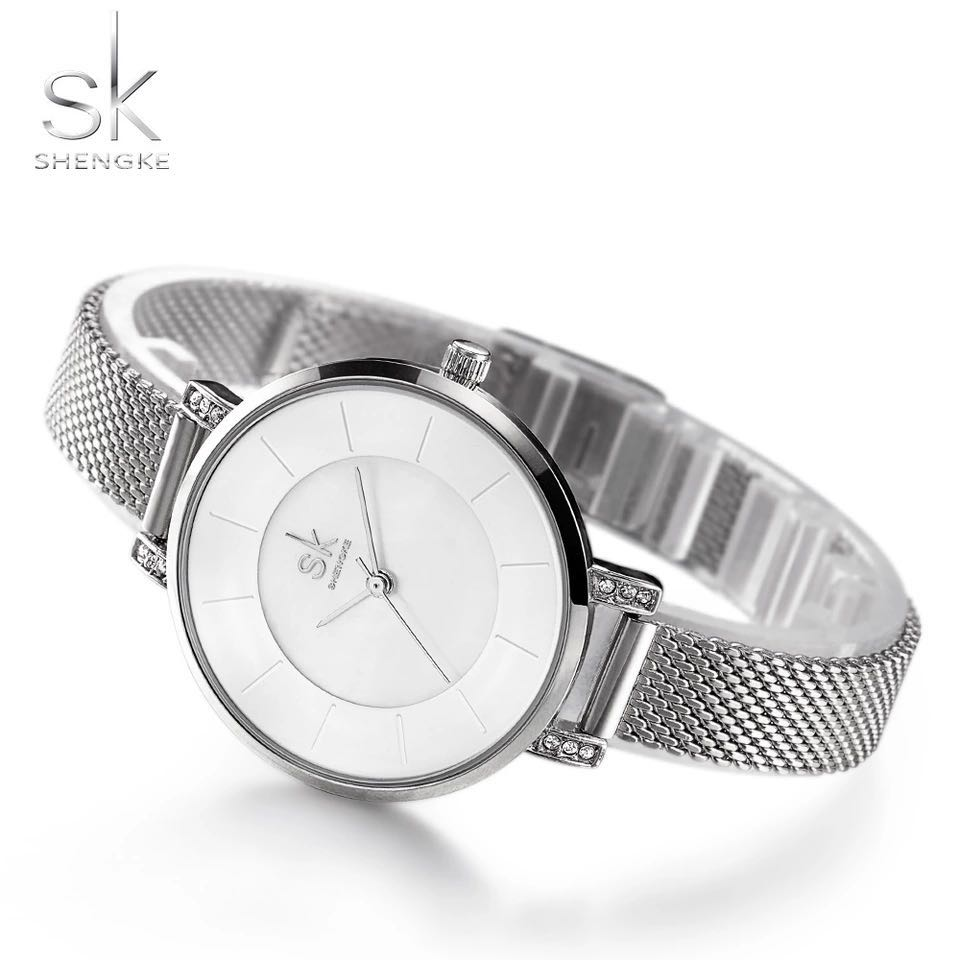 Shengke SK fashion Quatrz women watches Slim Stainless Steel Brand Large dial clock ladies dress wristwatch relogio feminino