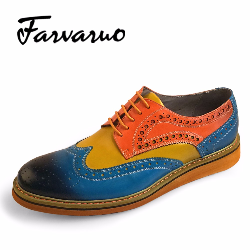 Farvarwo Genuine Leather Oxford Brogue Shoes Luxury Brand Mens Mixed Colors Flat Formal Dress Shoes Round Toe Lace Up Oxfords farvarwo formal retro buckle chelsea boots mens genuine leather flat round toe ankle slip on boot black kanye west winter shoes