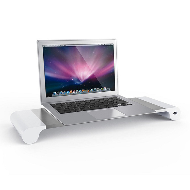 US $49 9 |Aluminum Monitor Stand Space Bar With Keyboard Storage for Laptop  iMac MacBook Air Pro Stand Holder Dock Desk 4 Port USB charger-in Tablet