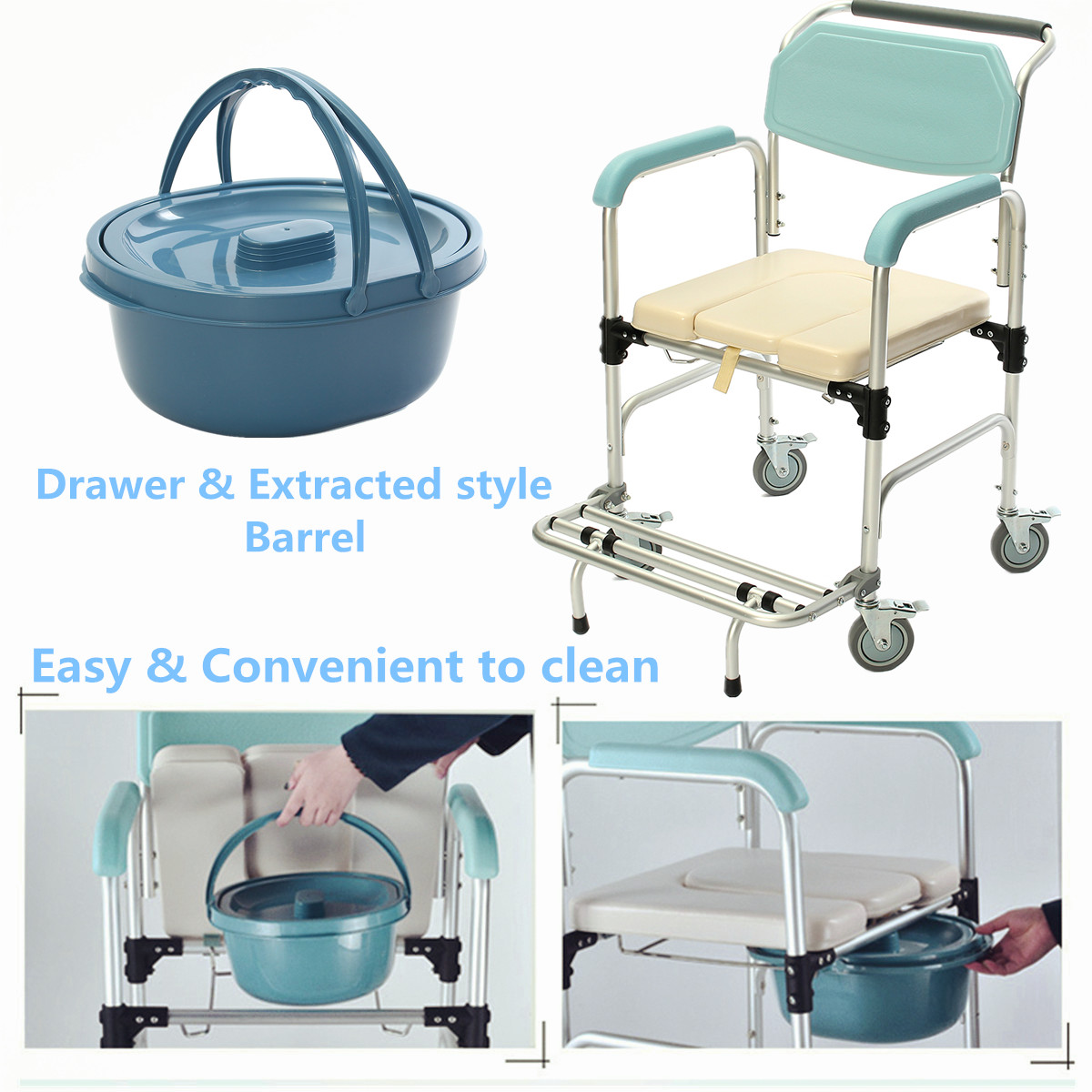 3 in 1 Commode Wheelchair Bedside Toilet & Shower Seat Bathroom ...