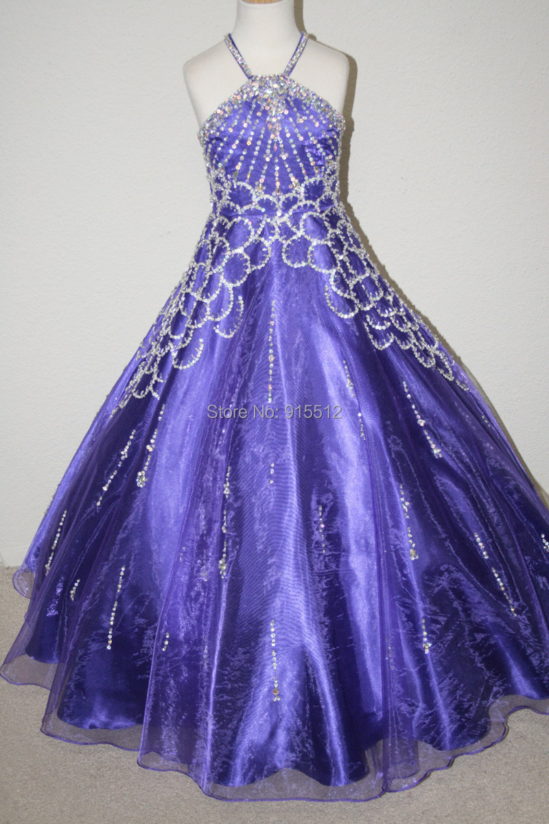 Real Samples Phoenix Beading Patterns S Black And Purple Color Crystals Custom Made Elsa Princess Dress Costurm For Party In Flower Dresses From