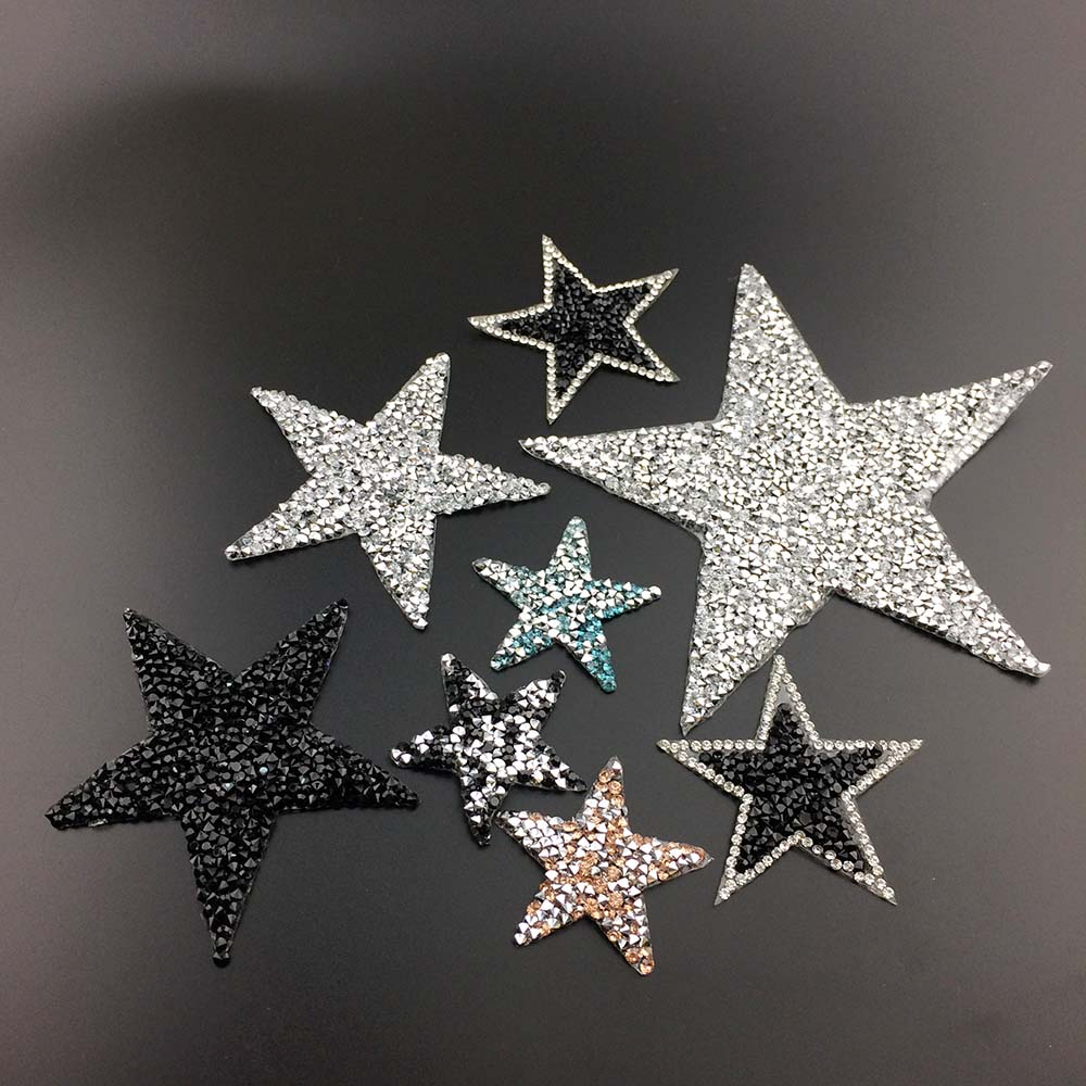 5 Teile/los Strass Stern Aufkleber Strass Applique 4,5 Cm Stern Strass Dekoration Diy Jean Bekleidungs Patches