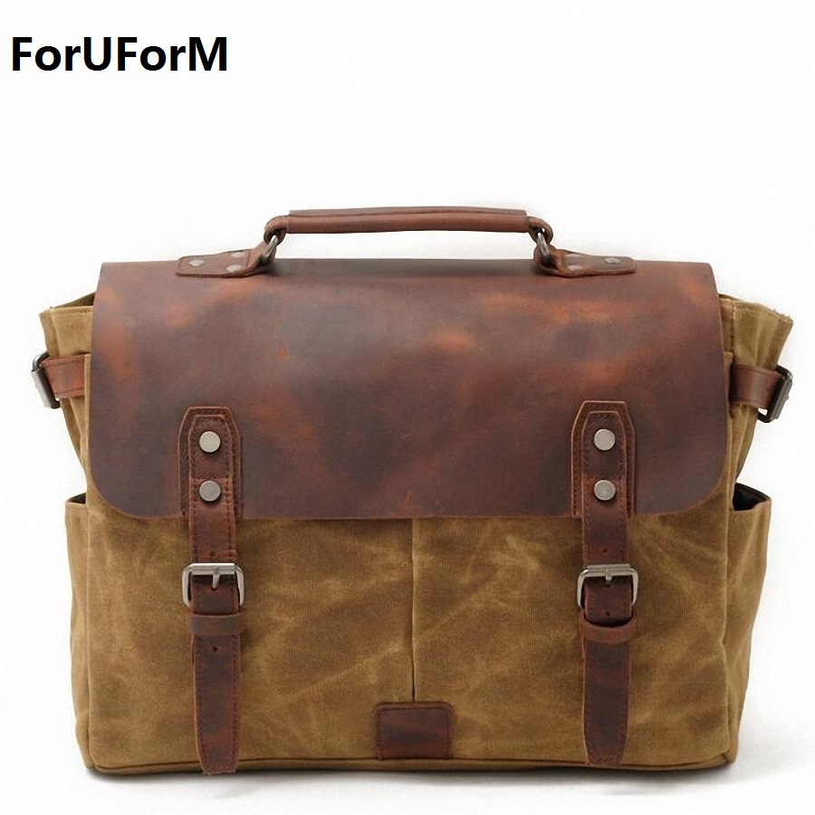 Vintage Men's Messenger Bags waterproof Canvas Shoulder Bag Fashion Men Business Crossbody Bag school Travel Handbag LI-1865