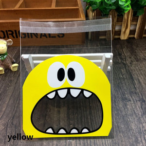 Image 4 - 50Pcs Cute Big Teeth Mouth Monster Plastic Bag Wedding Birthday Cookie Candy Gift Packaging Bags OPP Self Adhesive Party Favors