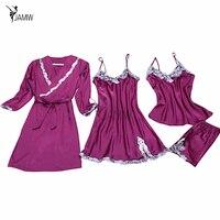 Banda rendas de cetim de seda das mulheres sexy pijama define roupão & camisola quatro peças meninas desgaste casa V-pescoço conjunto de lingerie hot