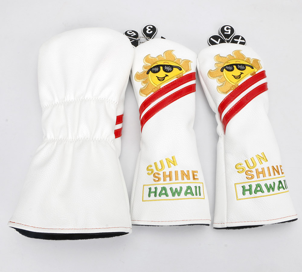Image 2 - Golf Cartoon White Sun flower#1 #3 #5 Woods PU Leather Golf Driver Head Cover-in Golf Clubs from Sports & Entertainment