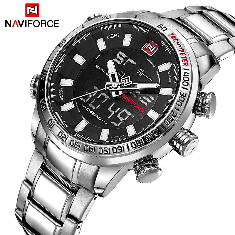 Mens Montres De Luxe Mode Sport Montre NAVIFORCE Marque Hommes Quartz Analogique Numérique Horloge Mâle Étanche En Acier Inoxydable Montres