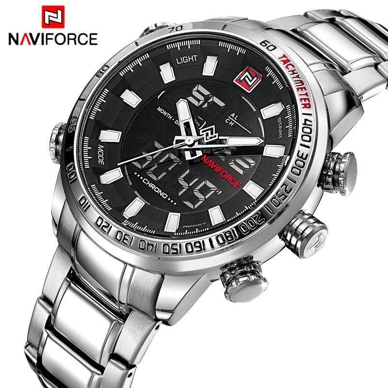 Mens Watches Luxury Fashion Sport Watch NAVIFORCE Brand Men Quartz Analog Digital Clock Male Waterproof Stainless Steel Watches