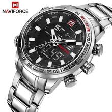 NAVIFORCE relojes deportivos para hombre, de cuarzo, analógico, Digital, resistente al agua, de acero inoxidable, de marca