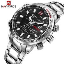رجالي ساعات فاخرة موضة الرياضة ساعة NAVIFORCE العلامة التجارية الرجال الكوارتز التناظرية ساعة رقمية الذكور مقاوم للماء ساعات الفولاذ