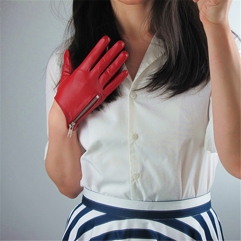 Image 2 - Pure Sheepskin Genuine Leather Woman Gloves Short Style Red With Zipper European Version French Elegance Female Mittens TB84-in Women's Gloves from Apparel Accessories