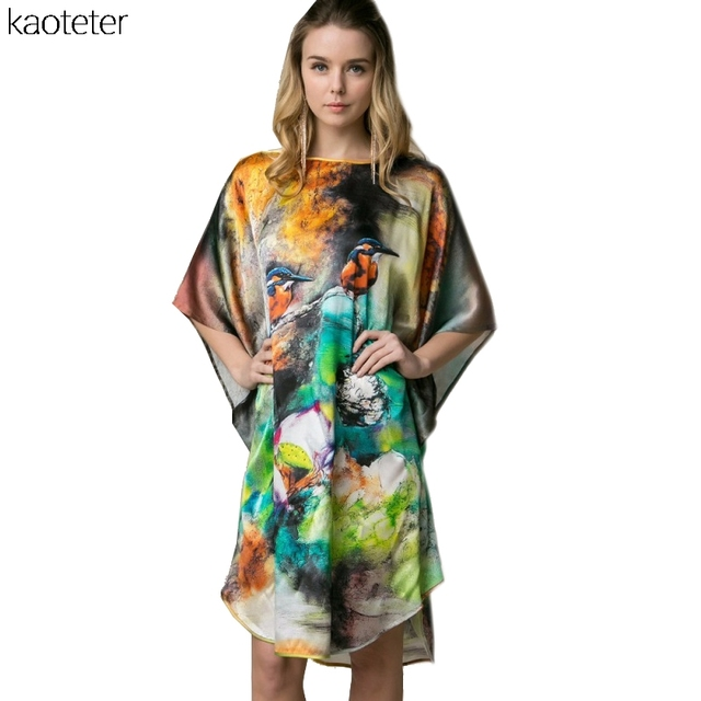 100% Real Silk Women Loose Loungewear Night Skirt One Piece Nightdress Plus Size Home Wear Hand Painted Nightgowns YBP004