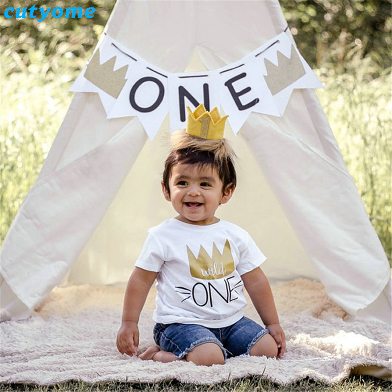 Boys Baby Girls T-shirty 1st Birthday Short Sleeve Top Tees Cotton Toddler Kids Boy Wild One T Shirt Odzież Child Girl tshirt