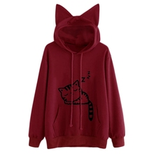 Fashion Cat Ear Hooded Sweatshirts Tops Womens Printed Long Sleeve Hoodies Pullovers W4