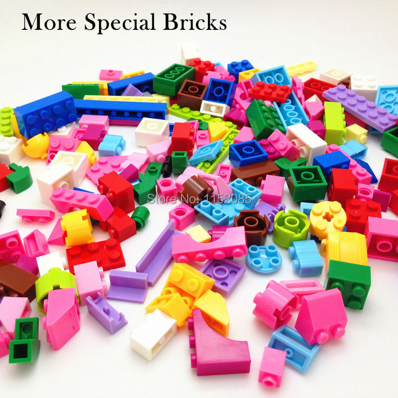 200pcs Pink Color Basic Building Blocks More Special Parts DIY Toys Compatible with Legoed Girl Gift