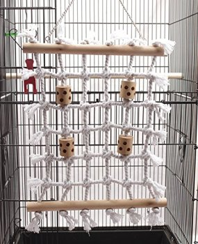 Parrot Climbing Net Cotton Rope Bird Cage Wood Toy Play Gym Hanging Swing Net Parrot Bird Hammock Decor for Budgies Parakeet 5