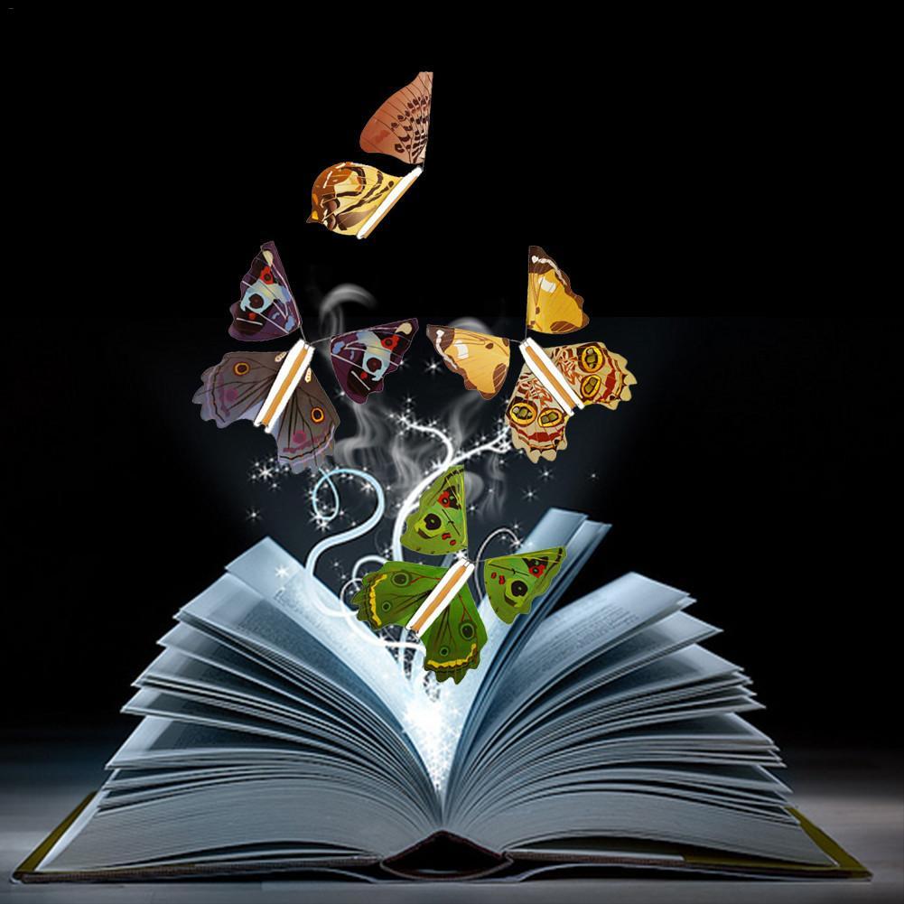 10 Pcs Flying Butterfly Childrens Magic Prop Toy fe flyvende i bogen Butterfly-7031