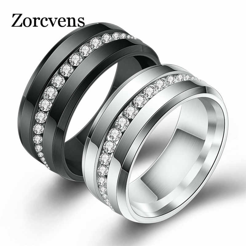 ZORCVENS Black and Silver Color Titanium Stainless Steel Rings For Women White CZ Stone Fashion Jewelry Wholesale