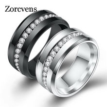ZORCVENS Black and Silver Color Titanium Stainless Steel Rings For Women White CZ Stone Fashion Jewelry Wholesale(China)